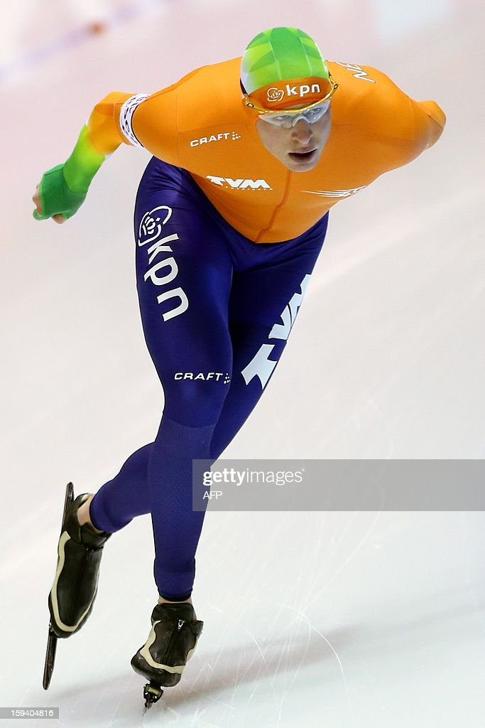 Sven Kramer of The Netherlands skates on January 13, 2013 during the men's 10,000 meter race at the European Speed Skating Championships in Heerenveen. AFP PHOTO / ANP / BAS CZERWINSKI - netherlands out -