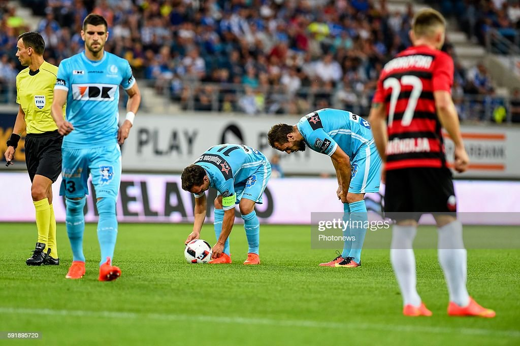 Sven Kums and Emir Kujovic during the Uefa Europa League match between KAA Gent and KF Shkendija In the Ghelamco Arena Gent Belgium via Getty Images