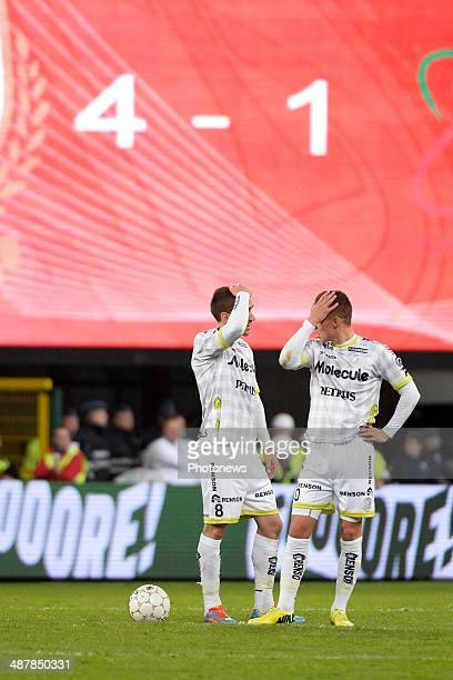 Sven Kums and Thorgan Hazard of ZulteWaregem look dejected during the Jupiler Pro League play off 1 match between Standard de Liege and Zulte Waregem...