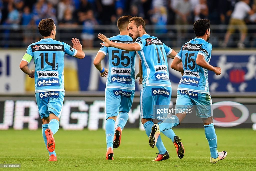 Sven Kums Emir Kujovic and teammates are celebrating after the 11 during the Uefa Europa League match between KAA Gent and KF Shkendija In the...
