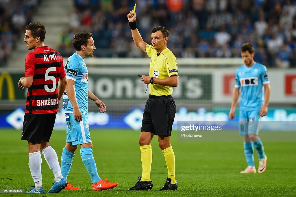 Sven Kums gets a yellow card during the Uefa Europa League match between KAA Gent and KF Shkendija In the Ghelamco Arena Gent Belgium via Getty Images