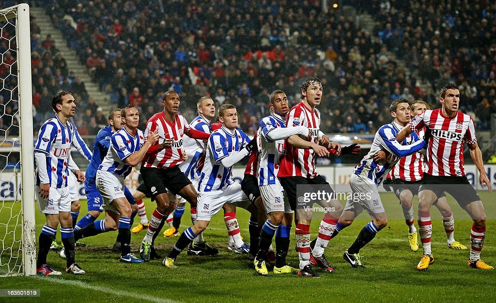 Sven Kums, Kristoffer Nordfeldt, Ramon Zomer, Marcelo, Joey van den Berg, Alfred Finnbogason, Rajiv van La Parra, Mark van Bommel, Christian KumKevin Strootman during the Dutch Eredivisie match between SC Heerenveen and PSV Eindhoven at the Abe Lenstra Stadium on march 09, 2013 in Heerenveen, The Netherlands