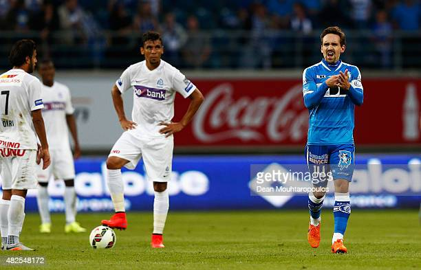 Sven Kums of Gent celebrates scoring his teams first goal of the game during the Jupiler League match between KAA Gent and KRC Genk held at the...