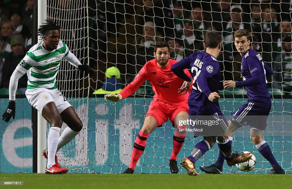 Sven Kums of RSC Anderlecht misses a good opertunity during the UEFA Champions League group B match between Celtic FC and RSC Anderlecht at Celtic Park on December 5, 2017 in Glasgow, United Kingdom.