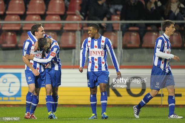Sven Kums of SC Heerenveen Oussama Assaidi of SC Heerenveen and Luciano Narsingh of SC Heerenveen celebrate uring the Eredivisie match between FC...
