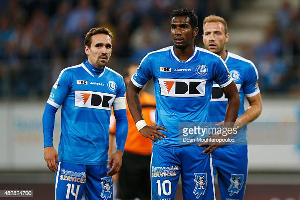Sven Kums Renato Cardoso Neto and Laurent Depoitre of Gent looks on during the Jupiler League match between KAA Gent and KRC Genk held at the...