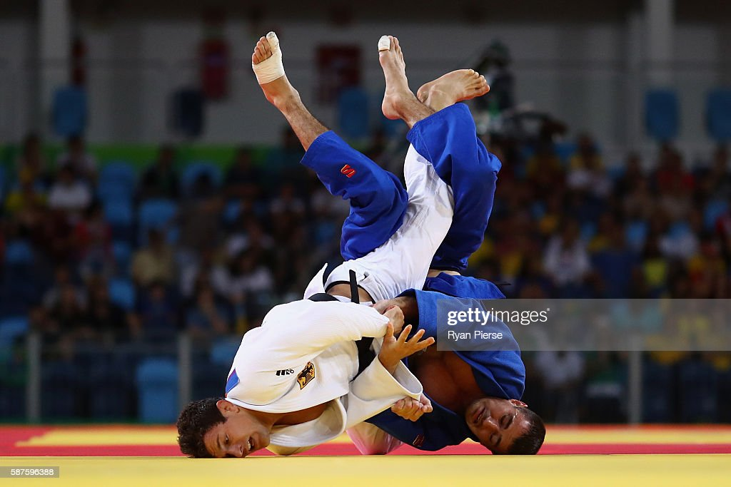 Sven Maresch of Germany and Sergiu Toma of United Arab Emirates compete during the Men's 81kg bout on Day 4 of the Rio 2016 Olympic Games at the...