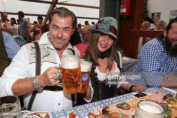 Sven Martinek and Simone Thomalla during the Oktoberfest 2015 Opening at Hofbraeu beer tent at Theresienwiese on September 19 2015 in Munich Germany