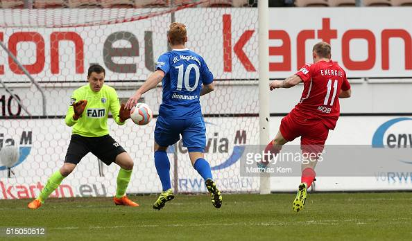 Sven Michel of Cottbus scores the first goal during the third league match between FC Energie Cottbus and 1FC Magdeburg at Stadion der Freundschaft...