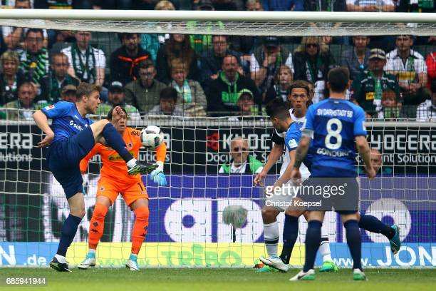 Sven Schipplock of Darmstadt equalizes with his first goal during the Bundesliga match between Borussia Moenchengladbach and SV Darmstadt 98 at...