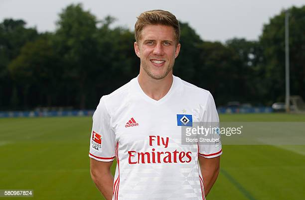 Sven Schipplock of Hamburger SV poses during the Hamburger SV Team Presentation at Volksparkstadion on July 25 2016 in Hamburg Germany