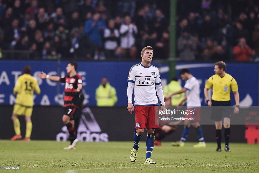 Sven Schipplock of Hamburger SV reacts after the Bundesliga match between Hamburger SV and Bayer Leverkusen at Volksparkstadion on October 17, 2015 in Hamburg, Germany.