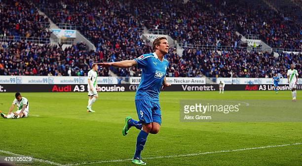 Sven Schipplock of Hoffenheim celebrates his team's sixth goal during the Bundesliga match between 1899 Hoffenheim and VfL Wolfsburg at Wirsol...