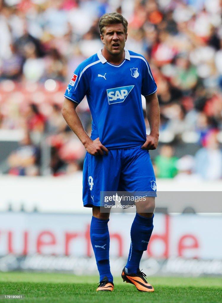 Sven Schipplock of Hoffenheim reacts during the Bundesliga match between VfB Stuttgart and 1899 Hoffenheim at Mercedes-Benz Arena on September 1, 2013 in Stuttgart, Germany.