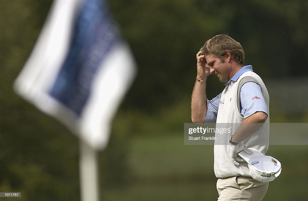 Sven Struver of Germnay scratches his head as he reflects on a bad Second Round of The Barclays Scottish Open held at the Loch Lomond GC, in Dumbarton, on July 12, 2002.