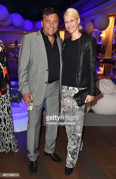Sven Sturm and Natascha Gruen attend the summer party at Hotel Bayerischer Hof on July 28 2015 in Munich Germany