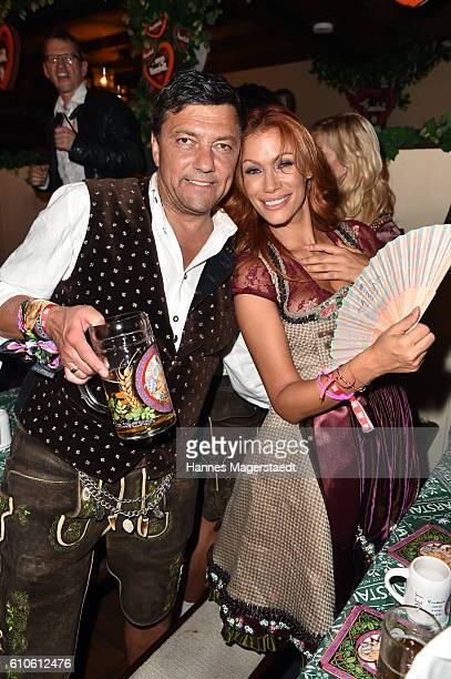 Sven Sturm and Yasmina Filali attend the BILD Wiesn at Marstall Festzelt during the Oktoberfest at Theresienwiese on September 26 2016 in Munich...