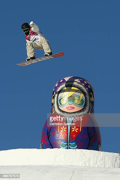 Sven Thorgren of Sweden trains during Snowboard Slopestyle practice at the Extreme Park at Rosa Khutor Mountain ahead of the Sochi 2014 Winter...
