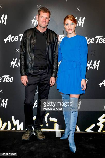 Sven Twisselmann CEO HM and blogger Lisa Banholzer attend the HM Acee Tee showcase on August 16 2017 in Berlin Germany