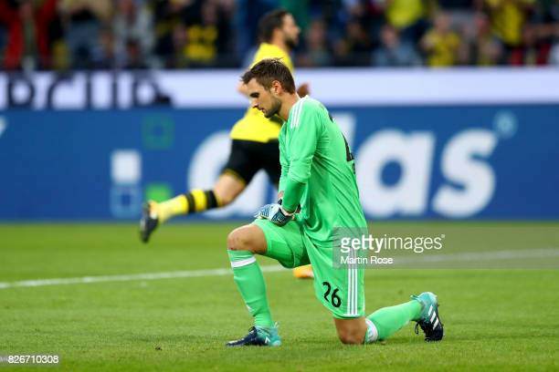 Sven Ulreich goalkeeper of Muenchen reacts during the DFL Supercup 2017 match between Borussia Dortmund and Bayern Muenchen at Signal Iduna Park on...