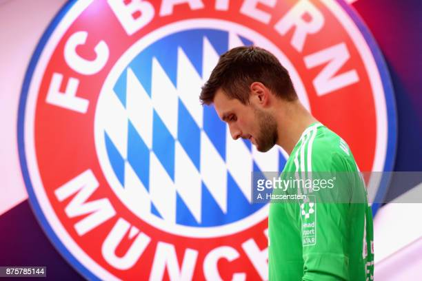 Sven Ulreich keeper of FC Bayern Muenchen looks on at the players tunnel prior to the Bundesliga match between FC Bayern Muenchen and FC Augsburg at...