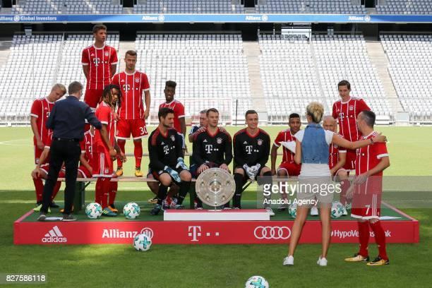 Sven Ulreich Manuel Neuer Christian Fruechtl of Bayern Munich are seen at Allianz Arena ahead of the team photo on August 08 2017 in Munich Germany