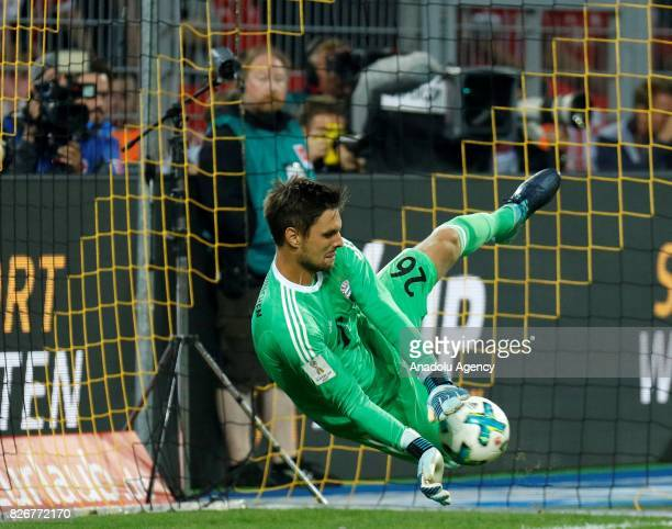 Sven Ulreich of Bayern Munich saves during the penalty shootouts of the DFL Super Cup 2017 final match between Borussia Dortmund and Bayern Munich at...