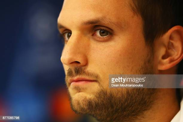 Sven Ulreich of Bayern Munich speaks to the media during the Press Conference held at the Constant Vanden Stock Stadium on November 21 2017 in...