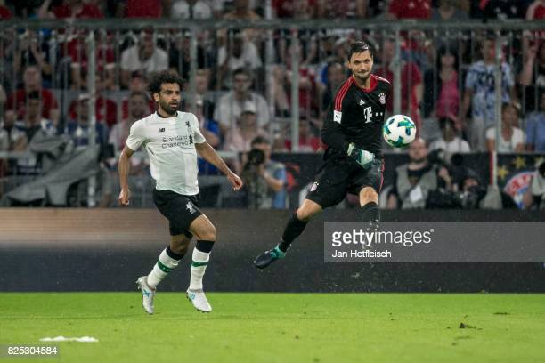 Sven Ulreich of FC Bayern Muenchen kicks the ball during the Audi Cup 2017 match between Bayern Muenchen and Liverpool FC at Allianz Arena on August...