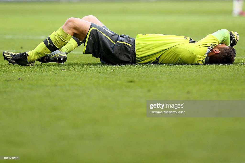 <a gi-track='captionPersonalityLinkClicked' href=/galleries/search?phrase=Sven+Ulreich&family=editorial&specificpeople=4877030 ng-click='$event.stopPropagation()'>Sven Ulreich</a> of Stuttgart is seen during the Bundesliga match between VfB Stuttgart and Werder Bremen at Mercedes-Benz Arena on February 9, 2013 in Stuttgart, Germany.