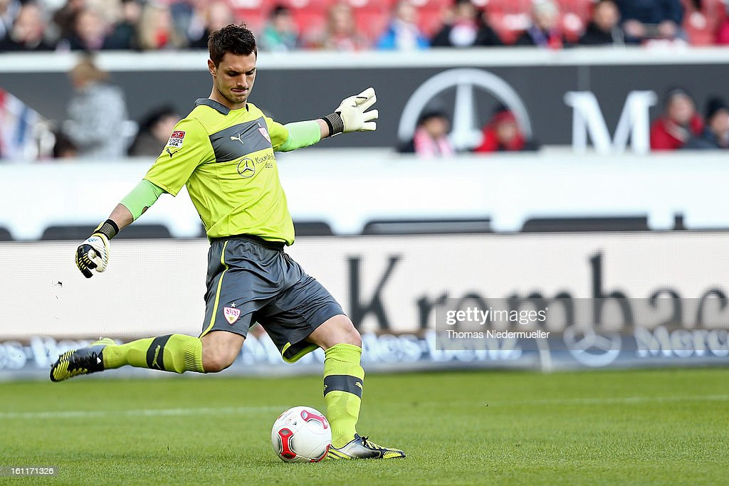 <a gi-track='captionPersonalityLinkClicked' href=/galleries/search?phrase=Sven+Ulreich&family=editorial&specificpeople=4877030 ng-click='$event.stopPropagation()'>Sven Ulreich</a> of Stuttgart kicks the ball during the Bundesliga match between VfB Stuttgart and Werder Bremen at Mercedes-Benz Arena on February 9, 2013 in Stuttgart, Germany.