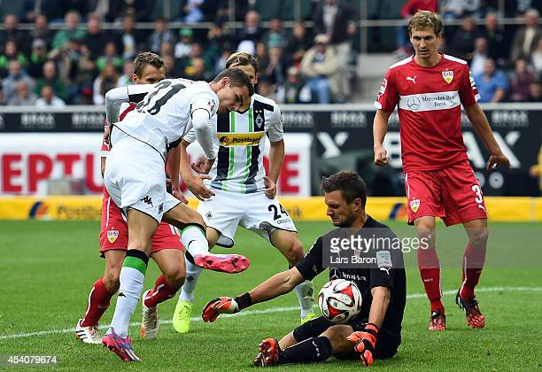 Sven Ulreich of Stuttgart saves a shot of Branimir Hrgota of Moenchengladbach during the Bundesliga match between Borussia Moenchengladbach and VfB...