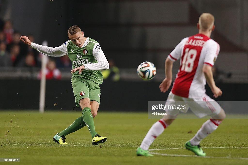 Sven van Beek of Feyenoord Davy Klaassen of Ajax during the Dutch cup match between Ajax Amsterdam and Feyenoord at Amsterdam Arena on January 22...
