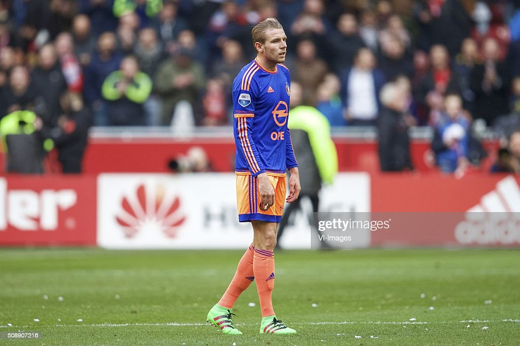 Sven van Beek of Feyenoord during the Dutch Eredivisie match between Ajax Amsterdam and Feyenoord Rotterdam at the Amsterdam Arena on February 07, 2016 in Amsterdam, The Netherlands