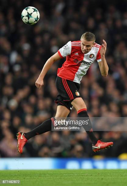 Sven Van Beek of Feyenoord in action during the UEFA Champions League group F match between Manchester City and Feyenoord at Etihad Stadium on...