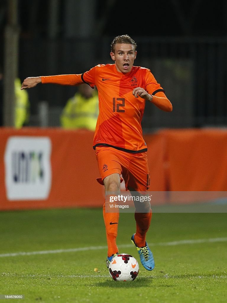 Sven van Beek of Netherlands U21 during 2015 UEFA European U21 Championships Qualifier match between the Netherlands U21 and Austria U21 at the Adelaarshorst on Oktober 14, 2013 in Deventer, The Netherlands