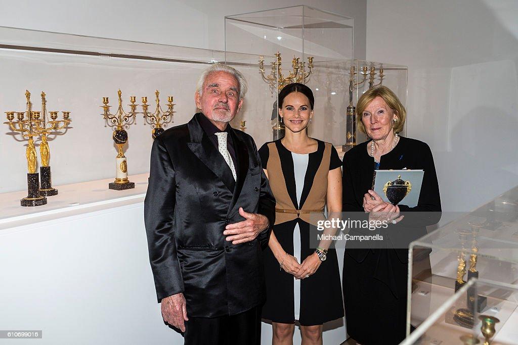 Sven-Harry Karlsson, Princess Sofia of Sweden, and Elsebeth Welander-Berggren attend the opening of the 'Porphyry: The Royal Stone' exhibition at Sven-Harrys art museum on September 27, 2016 in Stockholm, Sweden.