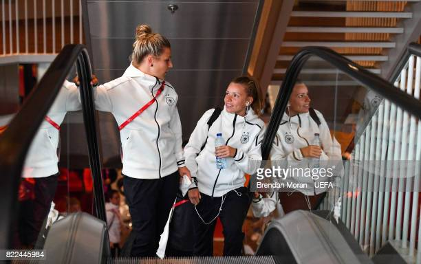 Svenja Huth and Linda Dallmann of Germany arrive prior to the UEFA Women's EURO 2017 Group B match between Russia and Germany at Stadion Galgenwaard...