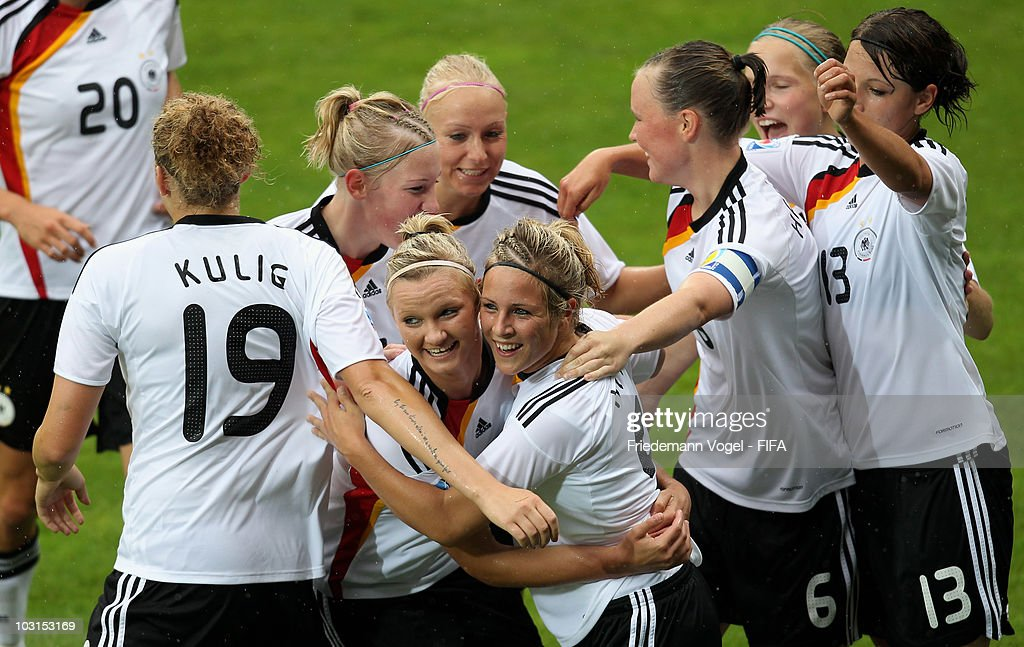Svenja Huth (C) of Germany celebrates scoring the first goal with her team during the FIFA U20 Women's World Cup Semi Final match between Germany and South Korea at the FIFA U-20 Women's World Cup stadium on July 29, 2010 in Bochum, Germany.