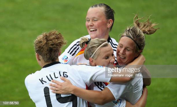 Svenja Huth of Germany celebrates scoring the first goal with Kim Kulig Marina Hegering and Alexandra Popp during the FIFA U20 Women's World Cup Semi...