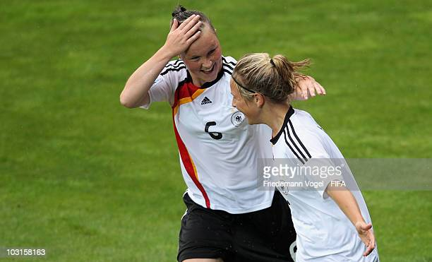 Svenja Huth of Germany celebrates scoring the first goal with Marina Hegering during the FIFA U20 Women's World Cup Semi Final match between Germany...