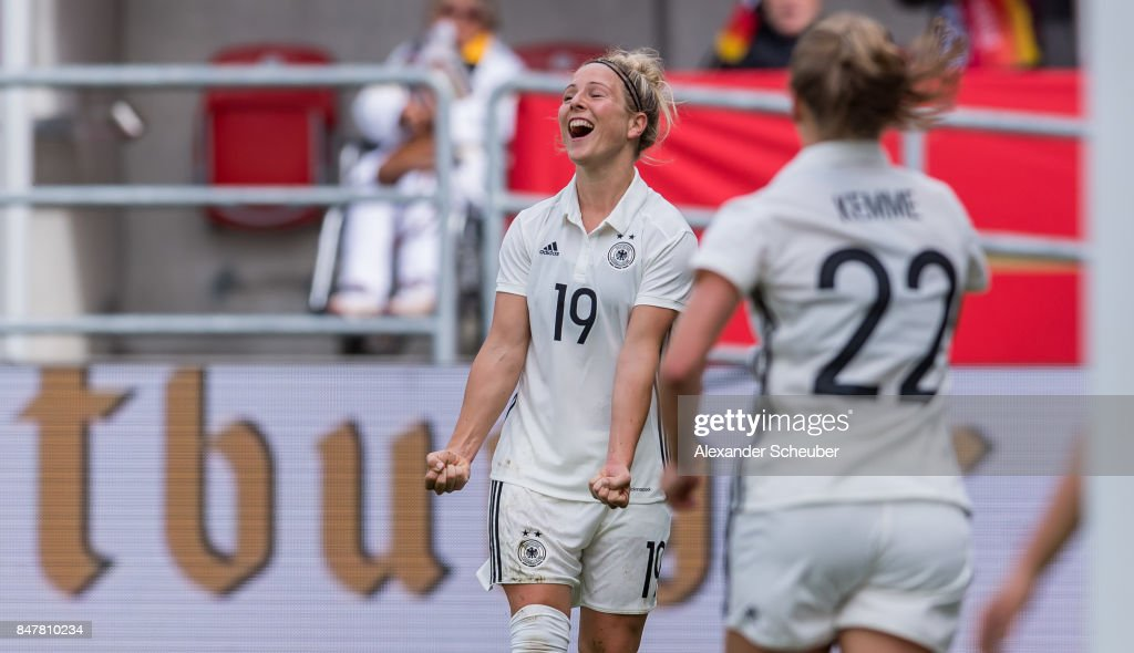 Svenja Huth of Germany celebrates the opening goal for her team during the 2019 FIFA women's World Championship qualifier match between Germany and Slovenia at Audi Sportpark on September 16, 2017 in Ingolstadt, Germany.