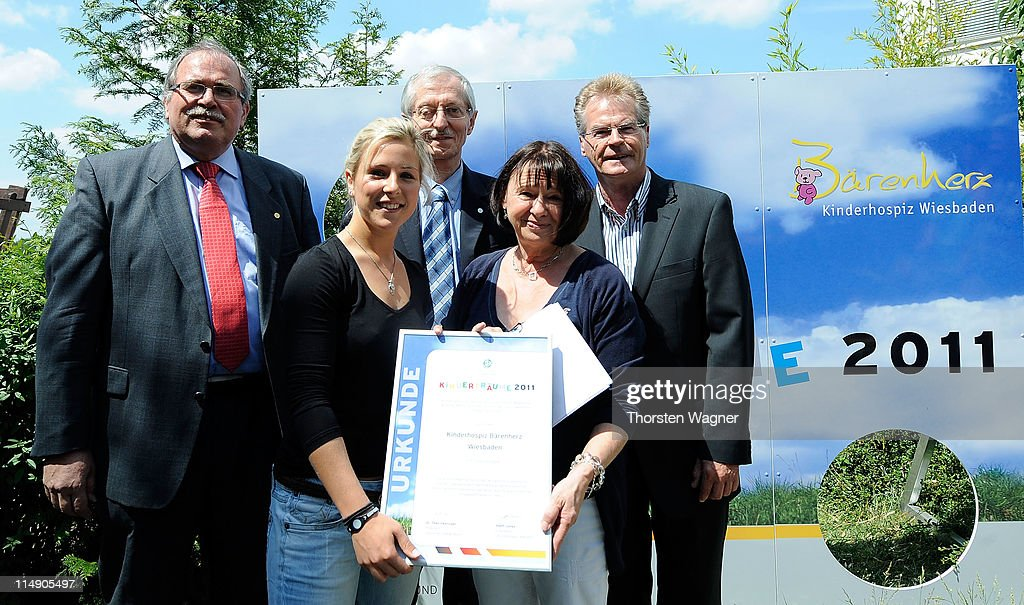 Svenja Huth, player of Germany visits the Kids hospice called 'Baerenherz' during the campaign Children Dreams 2011 of German Football Association (DFB) on May 28, 2011 in Wiesbaden, Germany.