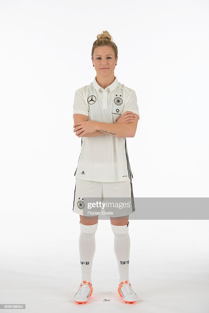 Svenja Huth poses in the new home jersey of the German women's national soccer team on November 25, 2016 in Chemnitz, Germany.