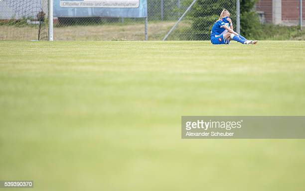 Svenja Lueger of 1899 Hoffenheim is disappointed during the U17 girl's championship semi final second leg match between TSG 1899 Hoffenheim and 1 FFC...