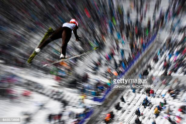 TOPSHOT Svenja Wuerth of Germany soars during the mixed normal hill team event of the 2017 FIS Nordic World Ski Championships in Lahti Finland on...