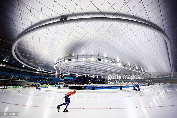 Sven Kramer of the Netherlands competes in the 5000m Mens race on Day Two of the ISU European Speed Skating Championships held at the Thialf on...