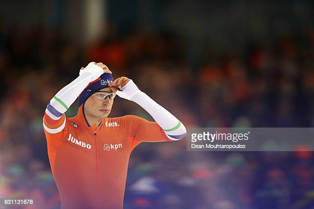 Sven Kramer of the Netherlands gets ready to compete in the Allround 500m Mens Race on Day Two of the ISU European Speed Skating Championships held...