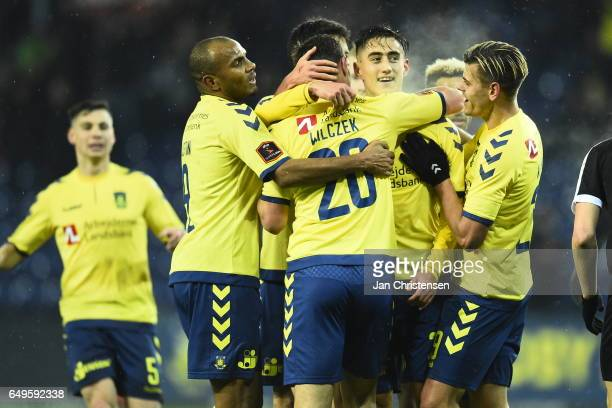 Svenn Crone and teammates from Brondby IF celebrates after his 20 goal during the Danish Cup DBU Pokalen match between BK Marienlyst and Brondby IF...