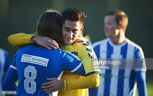 Svenn Crone of Brondby IF celebrates after the preseason friendly match between Brondby IF and KFUM Roskilde at Brondby Stadion on January 15 2017 in...